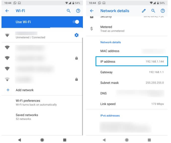 find ip address android 2
