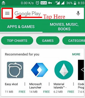 play store navigation drawer