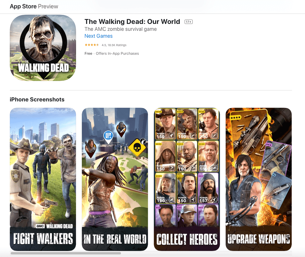 The Walking Dead App Store