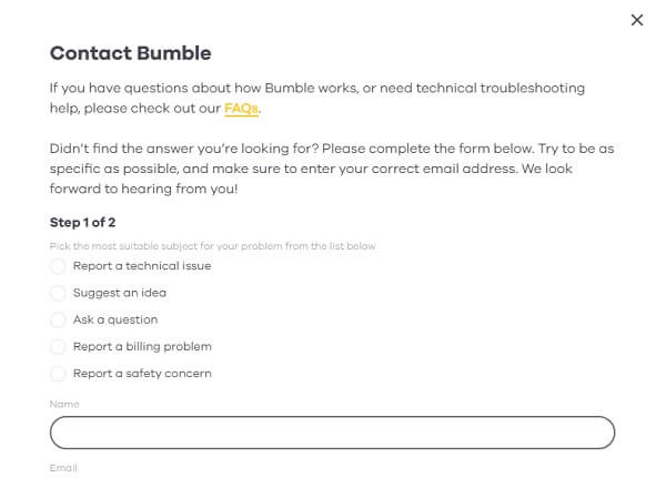 bumble contact support