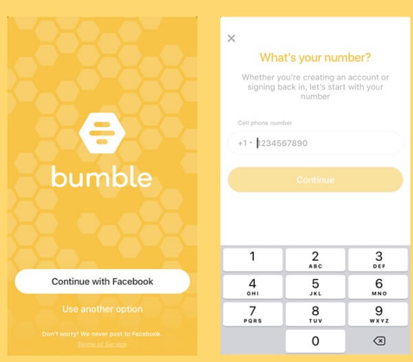 bumble number signup