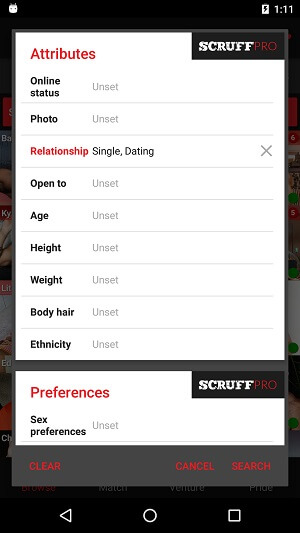 scruff filter search