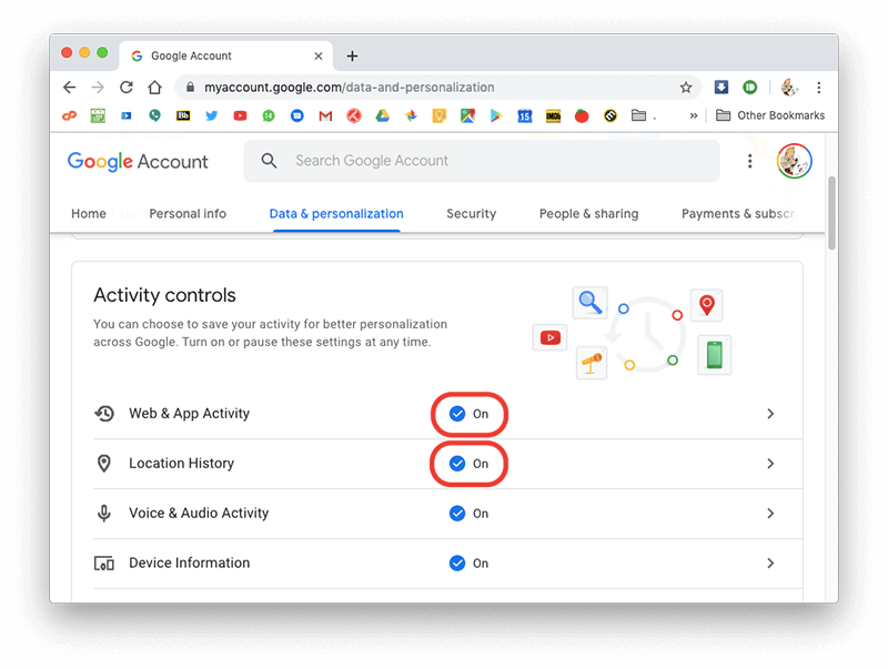 toggle web and app activity off