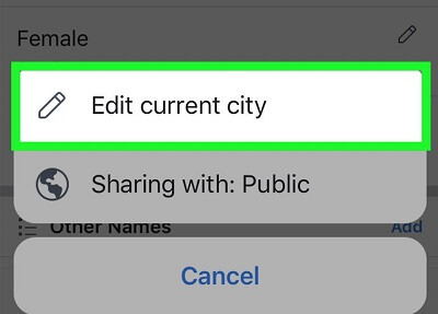 facebook app edit city
