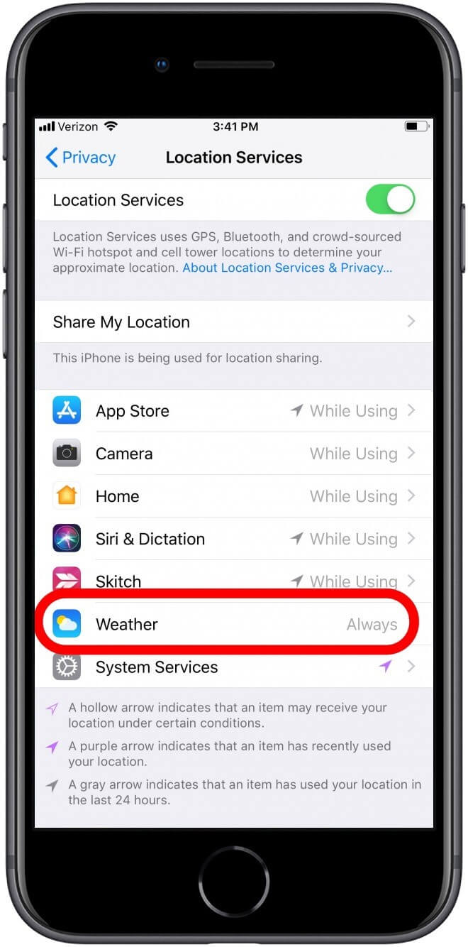 change the weather location services on iphone 3