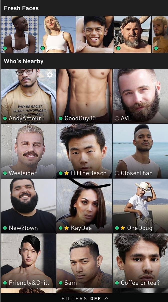 What is grindr fresh faces