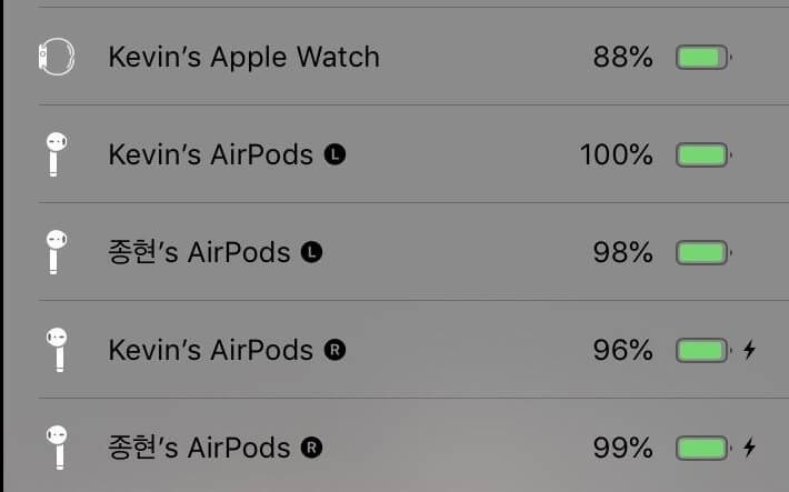 list connected airpods