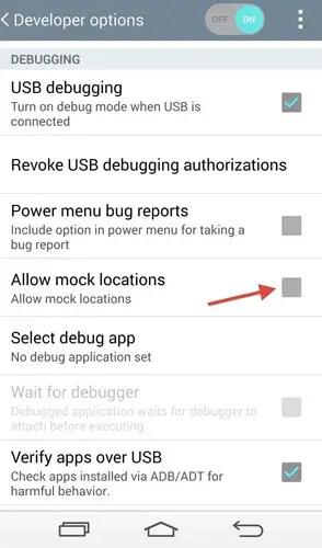Disattivazione della posizione fittizia su Android