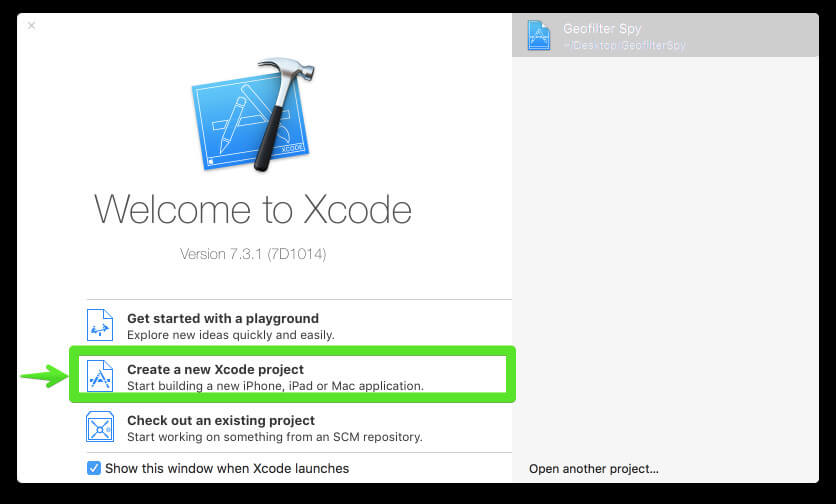 Create a new project in XCode