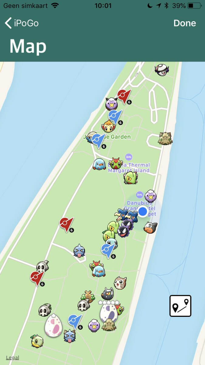 iPogo Map showing different Pokémon and where you can get them