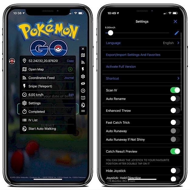 A screenshot of iSpoofer