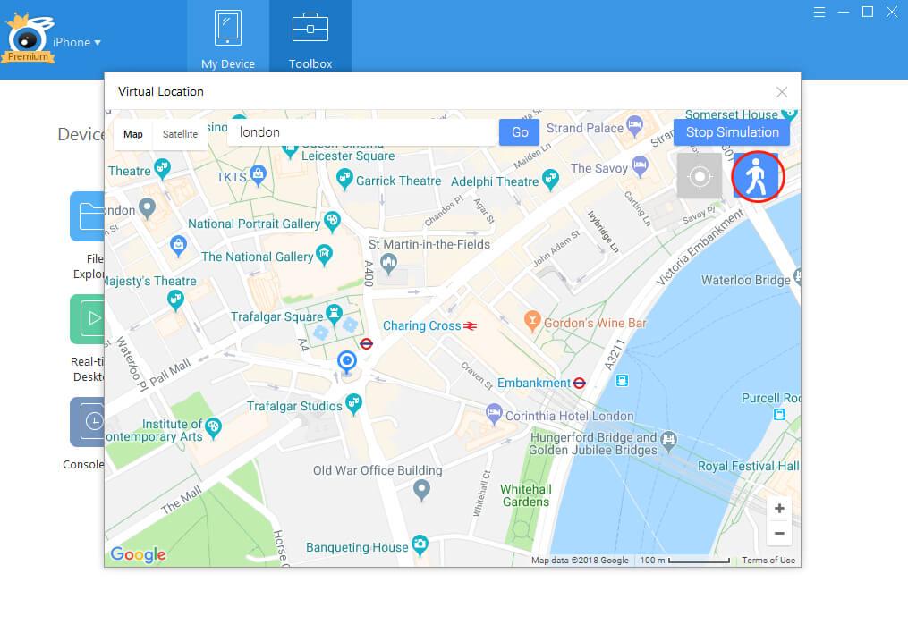 Simulate walking around iTools map