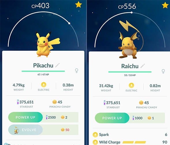 pikachu raichu evolution