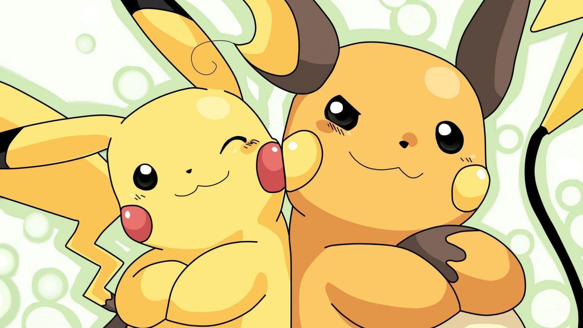 Pikachu (left) evolves to Raichu (right)