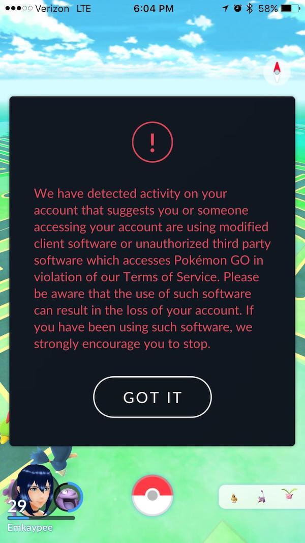Warning issued on Pokemon Go when you violate their TOS through hacking