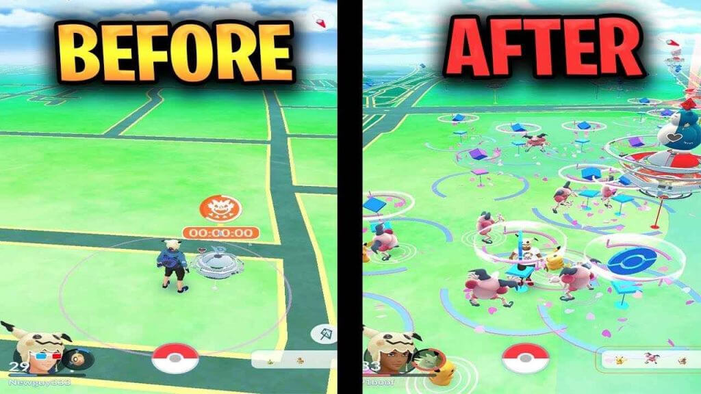 Before and after screenshots for spoofing apps