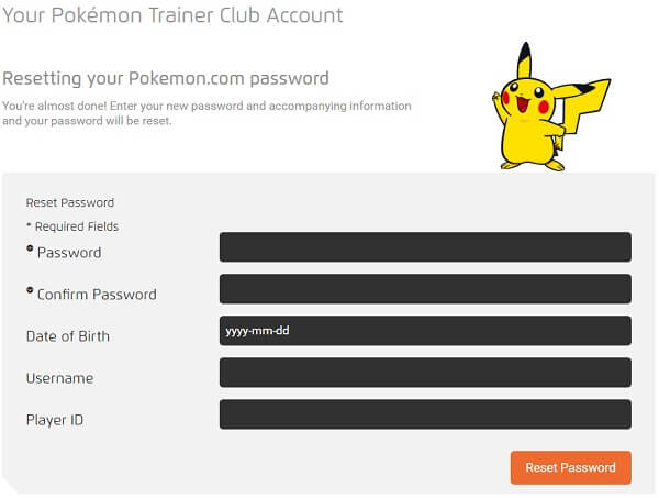 reset pokemon trainer account